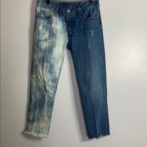 Levi 501 ct distressed acid wash button fly jeans